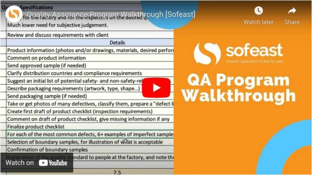 sofeast qa program walkthrough
